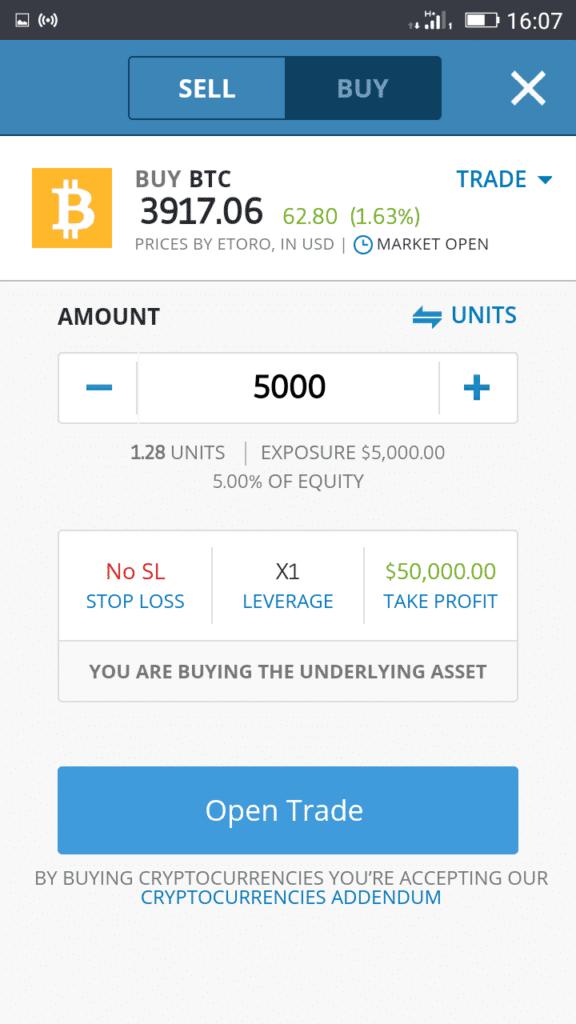 eToro Mobile App Screenshot