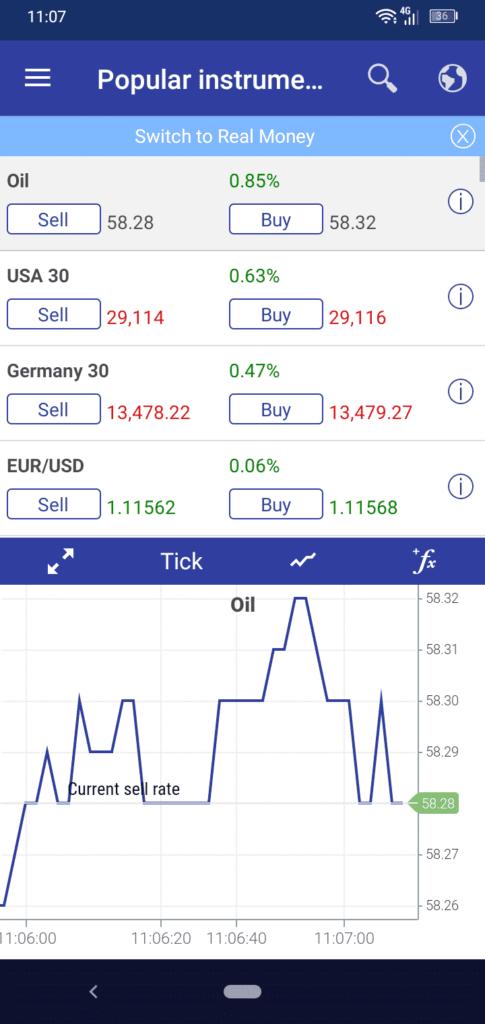 Plus500 Mobile App Screenshot